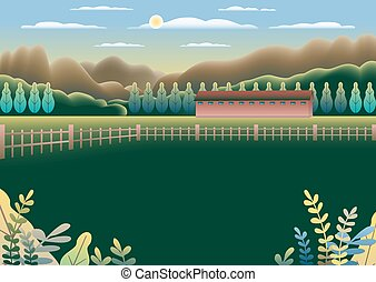 Landscape village, mountains, hills, trees, forest. Rural valley Farm countryside with house, building, fence in flat style design. Green brown gradient colors. Cartoon background vector illustration