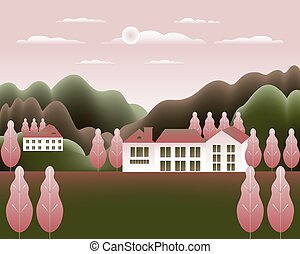 Landscape village, mountains, hills, trees, forest. Rural valley scene Farm countryside with house, building in flat style design. Green pink gradient colors. Cartoon background vector illustration