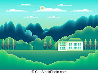 Landscape village, mountains, hills, trees, forest. Rural valley scene Farm countryside with house, building in flat style design. Green blue gradient colors. Cartoon background vector illustration