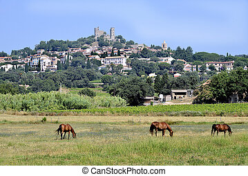 Landscape village of Grimaud - Landscape of village of ...