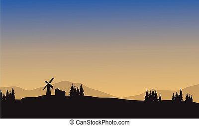 Landscape village of silhouette