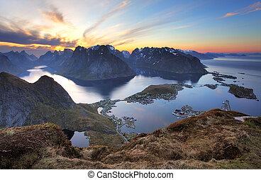 Landscape - Village Reine at sunset, Norway