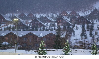 Landscape village snow winter - Landscape of a mountain...