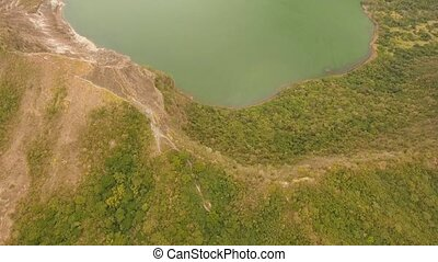 Landscape, volcano, mountains and lake - aerial footage lake...