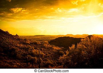 landscape, warme, ondergaande zon , woestijn, tonen