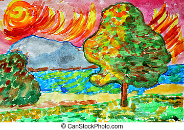 landscape watercolor nature trees water summer tree forest river lake green sky grass spring