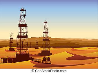 Landscape whith oil rigs in barren desert with sand dunes....