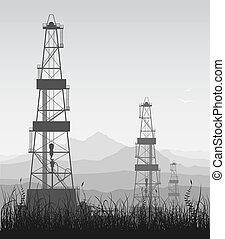 Landscape whith oil rigs over mountain range. Detailed raster illustration.