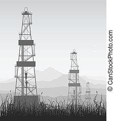 Landscape whith oil rigs over mountain range. Detailed vector illustration.