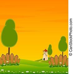 landscape windmill building - illustration of landscape...