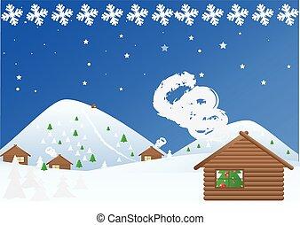 Landscape Winter Christmas Snowy Night.