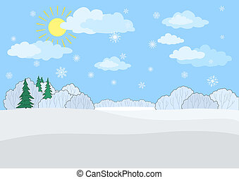 Landscape, winter day - Christmas winter landscape: a blue...