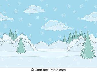 Landscape, Winter Forest, Seamless