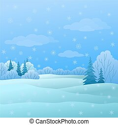 Landscape, winter forest - Vector, winter christmas...