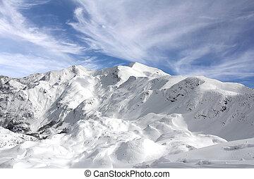 Landscape Mountains in winter at the ski resort Vogel, Slovenia