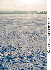 Landscape, winter morning Ladoga lake, Russia. - Morning...