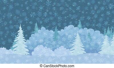 landscape, winter, seamless, bos, kerstmis, lus