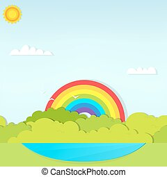 landscape witch rainbow and lake