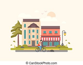 Landscape with a cafe - modern flat design style vector illustration
