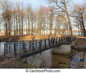 foot bridge in the autumn park