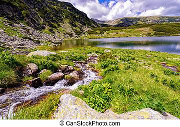 Landscape with a glacial lake in the highlands of Fagaras mounta