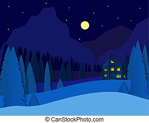 Landscape with a house in the mountains. Spruce forest and fields. 3d paper cut design. Advertising travel and recreation. Vector