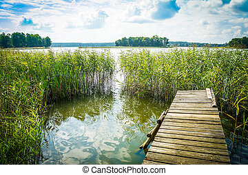 Landscape with a lake and an old bridge, a platform, a ladder into the water on a clear sunny day.