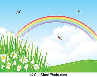 Beautiful summer landscape with rainbow. Vector illustration.