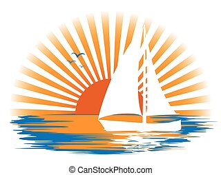 Landscape with a sailboat on the background of sunset