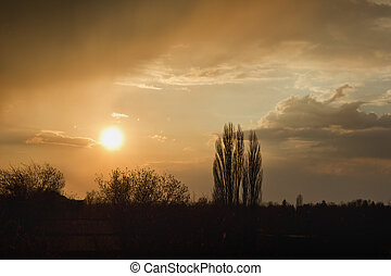 Landscape with a setting sun
