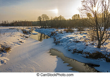 Landscape with a small river on a winter day. - Beautiful...