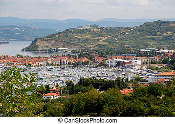 Landscape with a view on the port of Koper in Slovenia