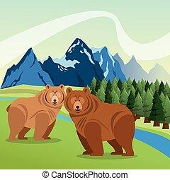 Landscape with animals design, mountain icon, Colorfull illustra