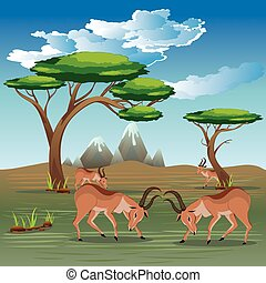Landscape with Antelopes