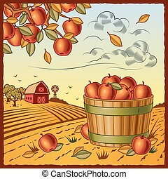 Retro landscape with apple harvest in woodcut style. Vector illustration with clipping mask.