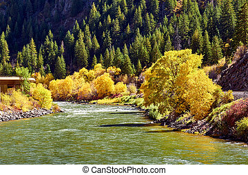 Landscape with autumn trees and river