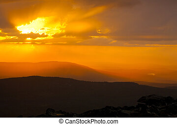 sunset in mountains - Landscape with beautiful sunset in ...