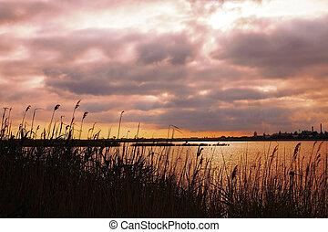 Landscape with beautiful sunset sky