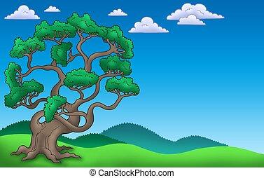 Landscape with big pine tree