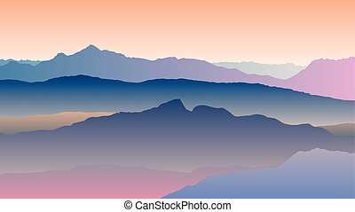 landscape with blue orange silhouettes of mountains