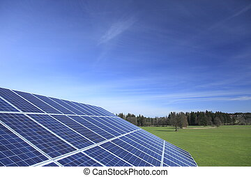 solar panel - landscape with blue solar panel and blue sky