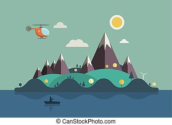 Landscape with Boat on Ocean. Vector Flat Design Island Illustration with Hills, Mountains and Helicopter