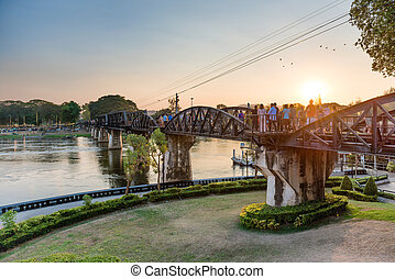 Landscape with bridge on river Kwai, Thailand