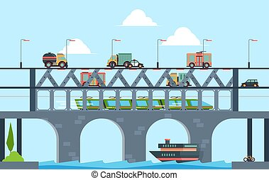Landscape with bridge. Speed truck highway bridge with cars vector cartoon background illustration