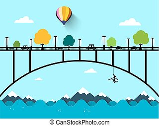 Landscape with Bridge. Vector Flat Design Illustration.