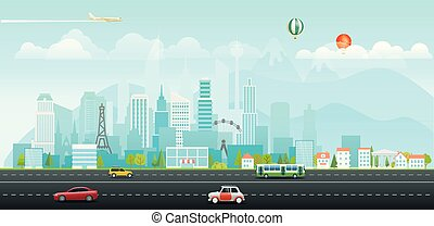 Landscape with buildings and vehicles. Morning city life
