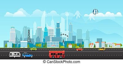 Landscape with buildings, mountains and vehicles. City life...