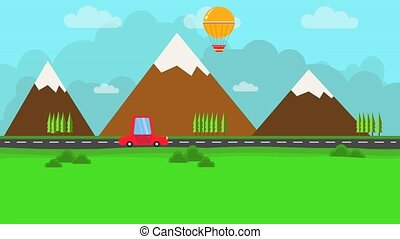 Landscape with car and flying balloon.