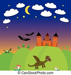 landscape with castle wizard, Cartoon Dragon, bats. Night. vector