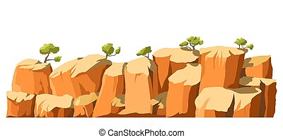 Landscape with cliffs and trees, panoramic scenery vector